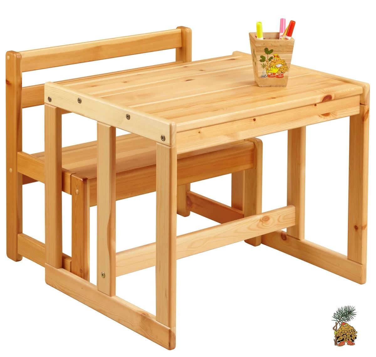 Столик для малышей из сосны с лавочкой