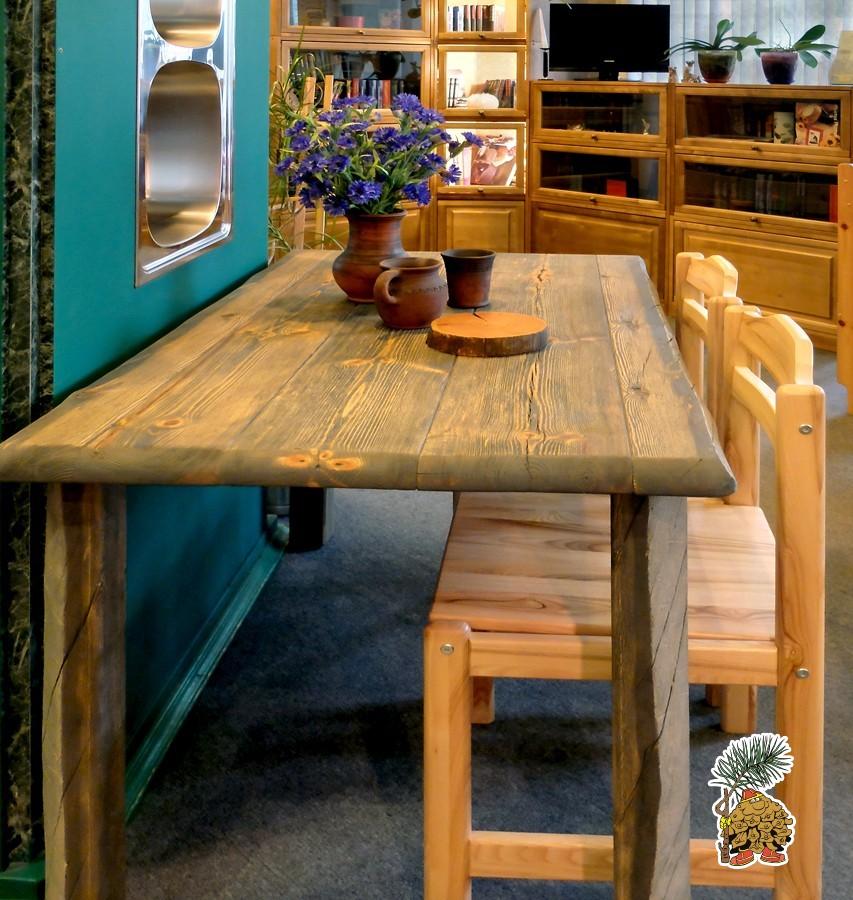 Обеденные  столы  лофт на деревянных ножках из карельского сухарника недорого