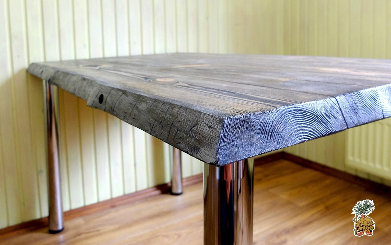Деревявянные столы в стиле лофт на металлических ножках купить в Москве недорого