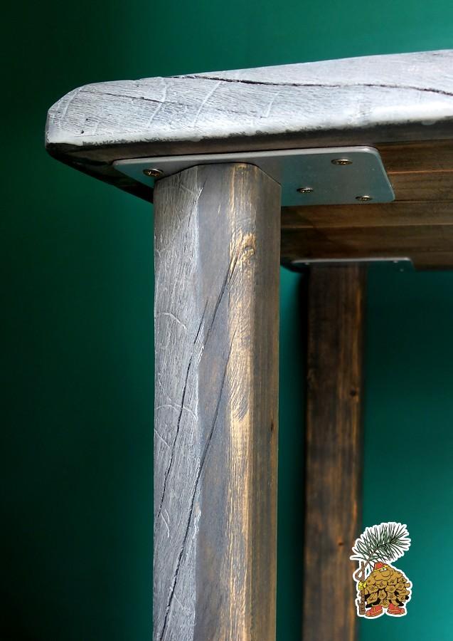 Крепление ножек обеденного стола в стиле лофт на деревянных ножках на заказ в tmt.ru