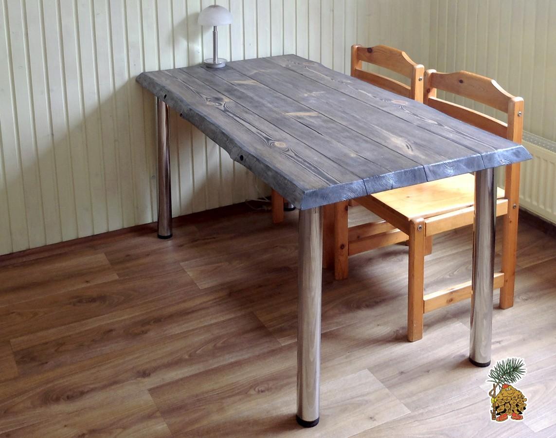 Деревянные столы в стиле  лофт из массива на металлических ножках купить в Москве недорого
