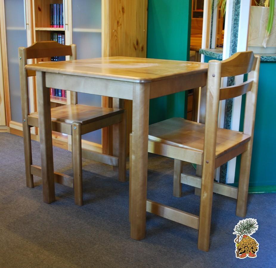 Комплект из массива березы, обенный стол и два стула со скидкой 50%