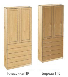 Шкаф с дверьми и 5-ю ящиками из дерева