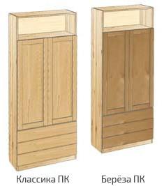 Шкаф с дверьми и открытой полкой вверху