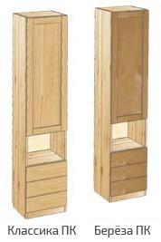 Узкий шкаф с дверью, 3-мя ящиками и нишей в центре