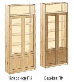 Шкаф книжный с дверьми и нишей вверху