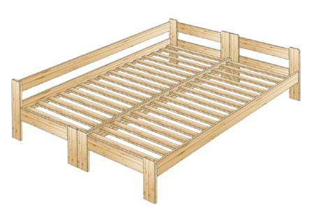 Двуспальная кровать из массива со смежными спинками