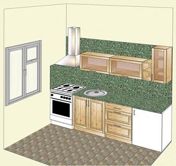 Кухня из массива сосны, прямой вариант
