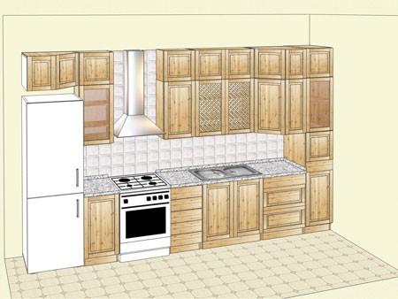 Кухня из массива карельской сосны, прямой вариант 360 см. Купить в Москве недорого
