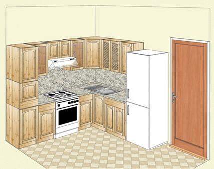 Кухня из массива карельской сосны, угловой вариант