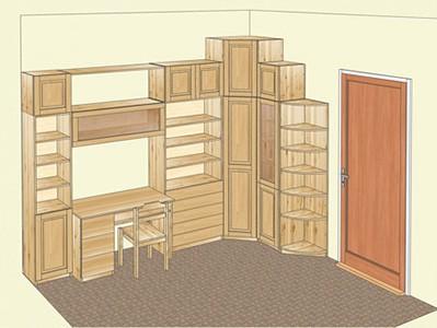 Мебель  для детской комнаты из сосны с угловым шкафом и стенкой