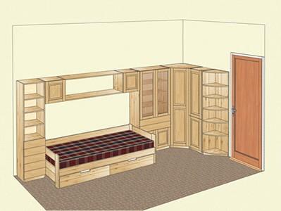 Мебель из сосны для детской комнаты с угловым шкафом
