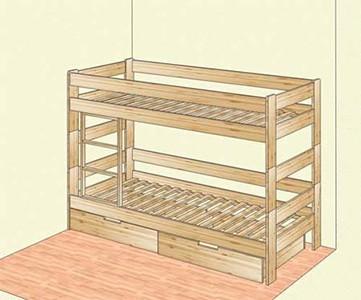Двухъярусная кровать с ящиками из массива сосны