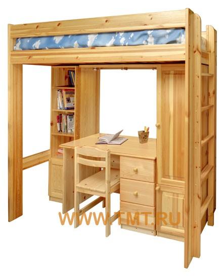 кровать-чердак, внизу стол со  шкафом