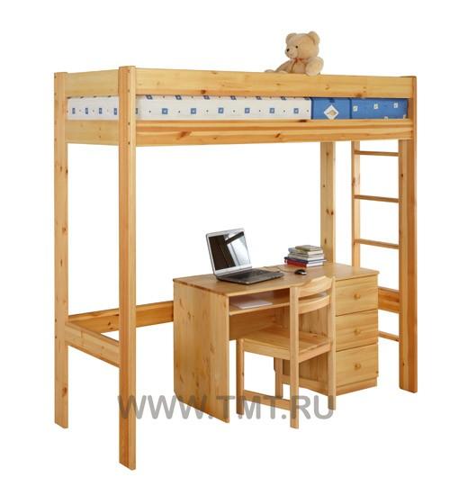 кровать чердак со столом из массива сосны